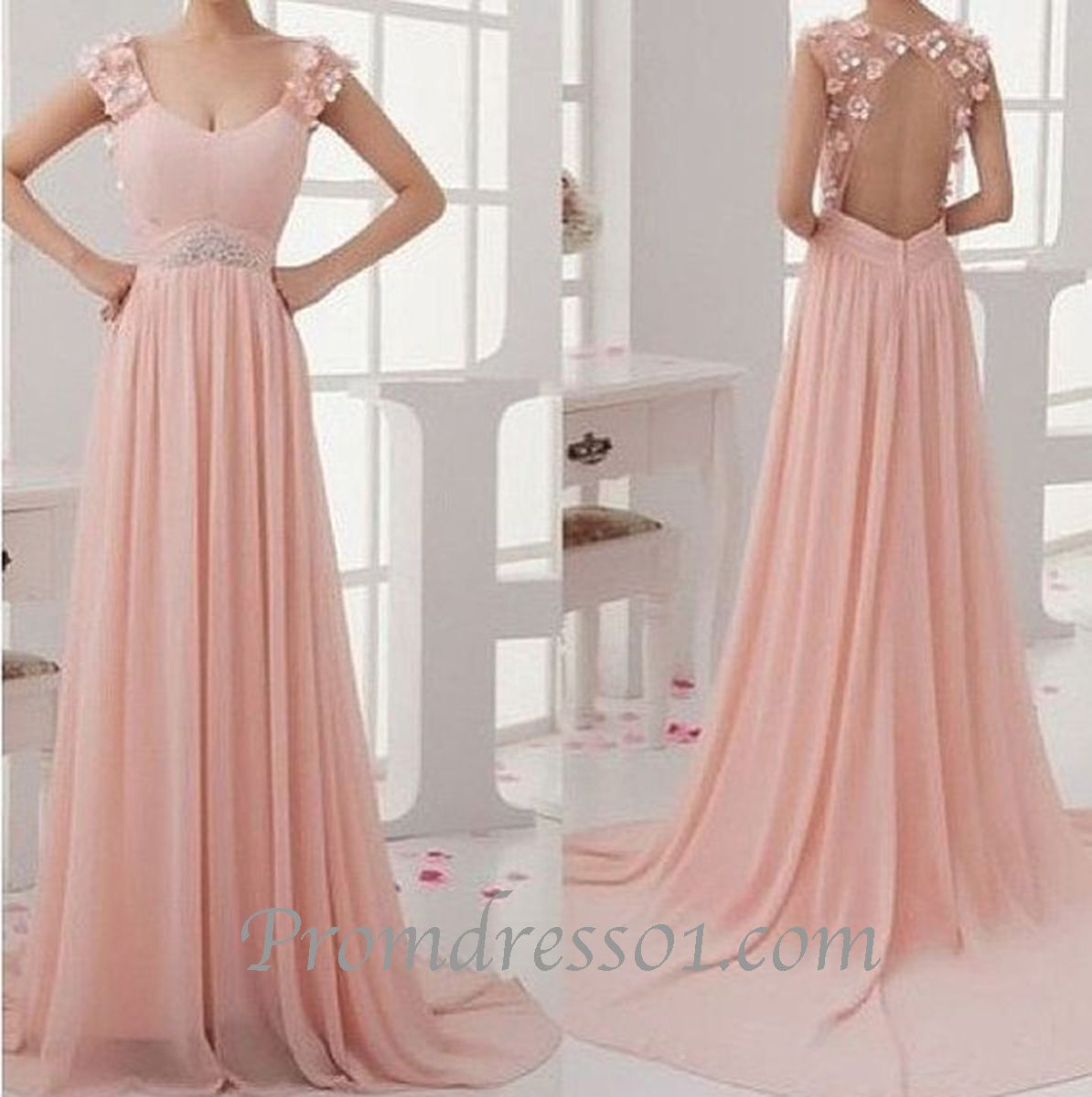 Unique pink chiffon prom dress with straps, ball gown, pretty long ...