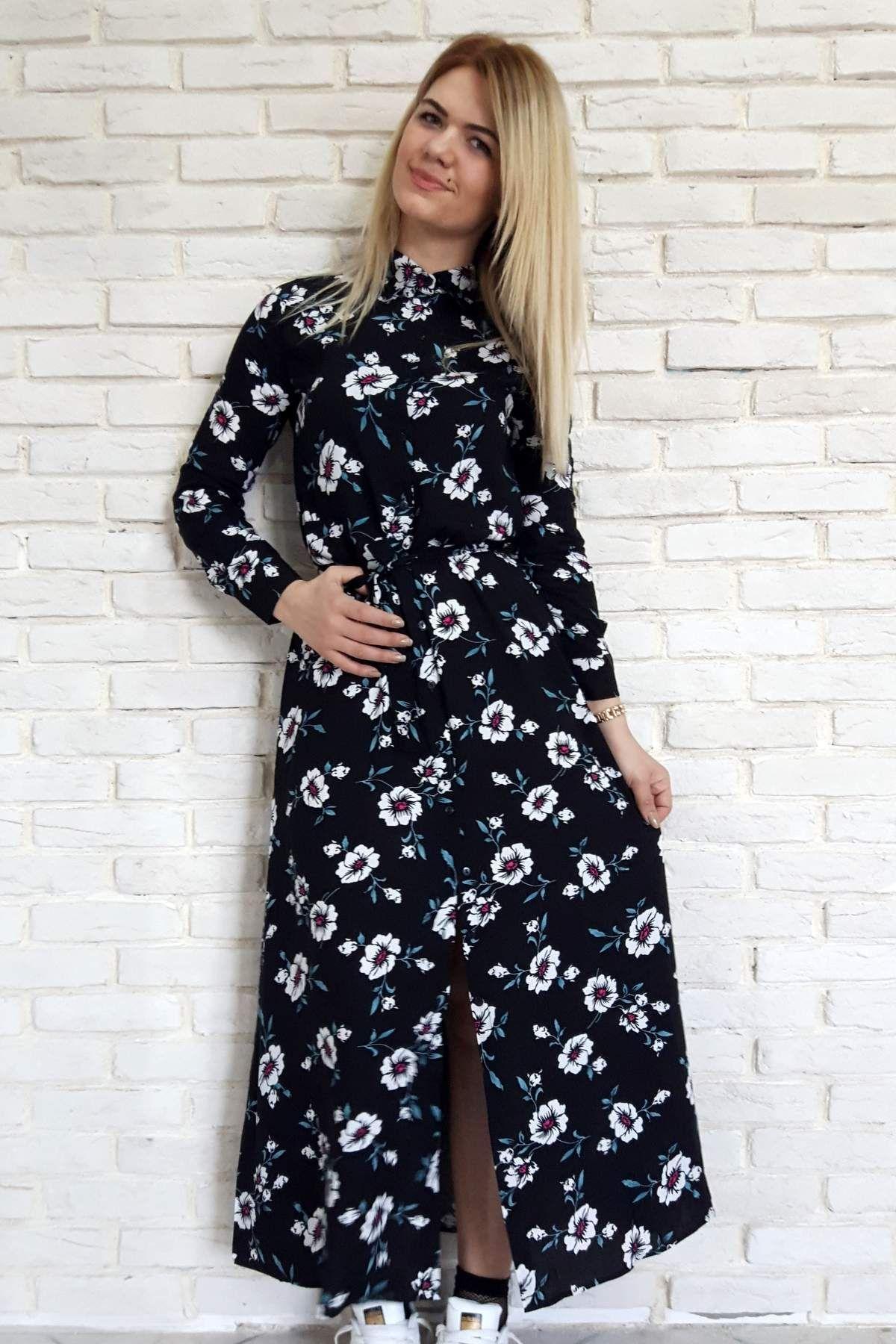Gomlek Yaka Boydan Dugmeli Desenli Uzun Bayan Elbise Elbise Giyim Moda Stilleri