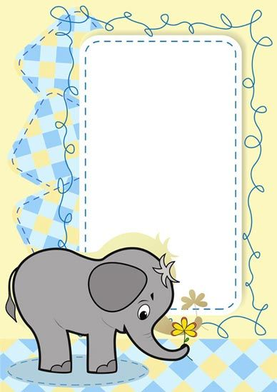 Cartoon frame with baby elephant vector | Marcos/Frame | Pinterest ...
