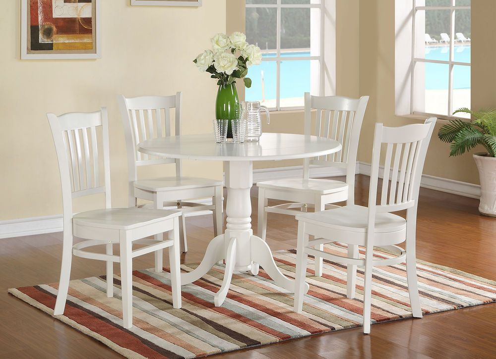 Round Kitchen Tables For 4 5pc set round kitchen table w 4 wood seat chairs in linen white 5pc set round kitchen table w 4 wood seat chairs in linen white httpebayitm5pc set round kitchen table w 4 wood seat chairs in linen white workwithnaturefo