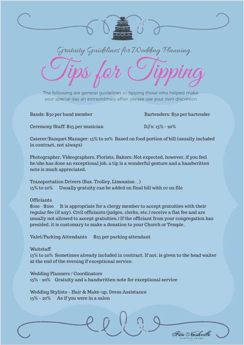 Tipping Tips Gratuities Wedding Weddingplanning Vendors