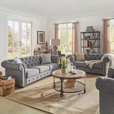 Best Chesterfield Sofa Smoke Homelegance Gray Living Room 400 x 300