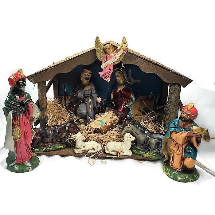 vintage sears 13 pc lighted musical papier mache nativity set w box 1960u0027s