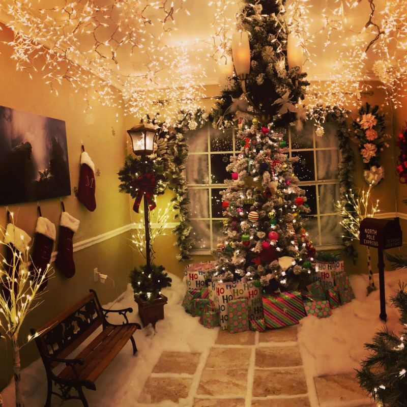 Dad Creates A Wonderful Christmas Room In His Home Indoor Christmas Lights Decorating With Christmas Lights Indoor Christmas Decorations