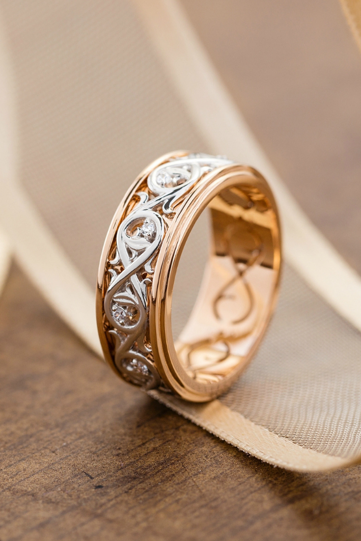 Unique Gold Wedding Band Womens Wedding Band Rustic Wedding Ring