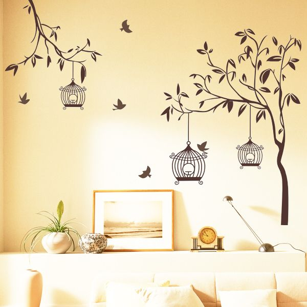 Happy Street Lights Birds With Tree Wall Sticker Tree Wall - Yellow bird wall decals
