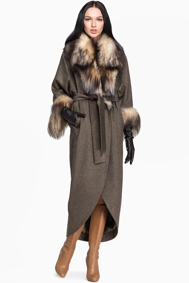 4c9f4ea30e7 Кашемировое пальто с отделкой из меха лисы и поясом CHARISMA ...