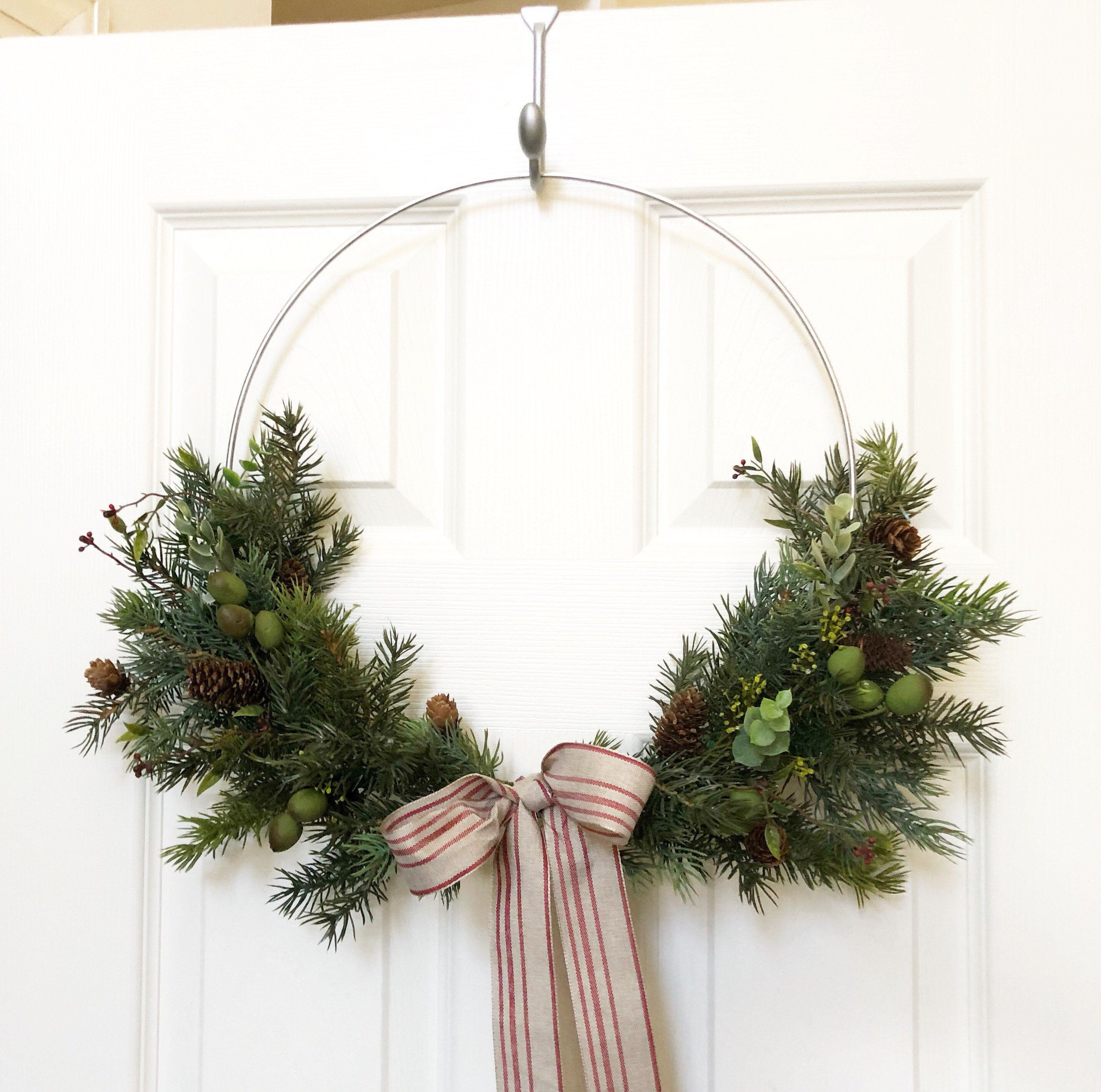 Photo of 14″ READY TO SHIP, Fall Hoop Wreath, Winter Greenery Wreath, Holiday Wreath, Faux Greenery Wreath, Modern Wreath, Farmhouse Style Wreath