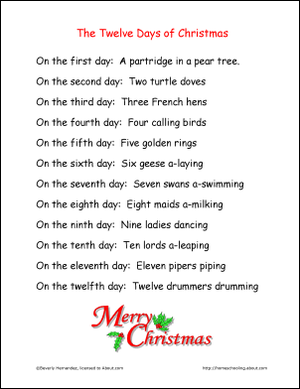 The Twelve Days Of Christmas Coloring Book