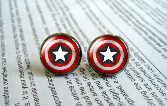 Captain America shield post earring, the avengers superhero earrings girlfriend gift Bridesmaid Gift on Etsy, $7.00