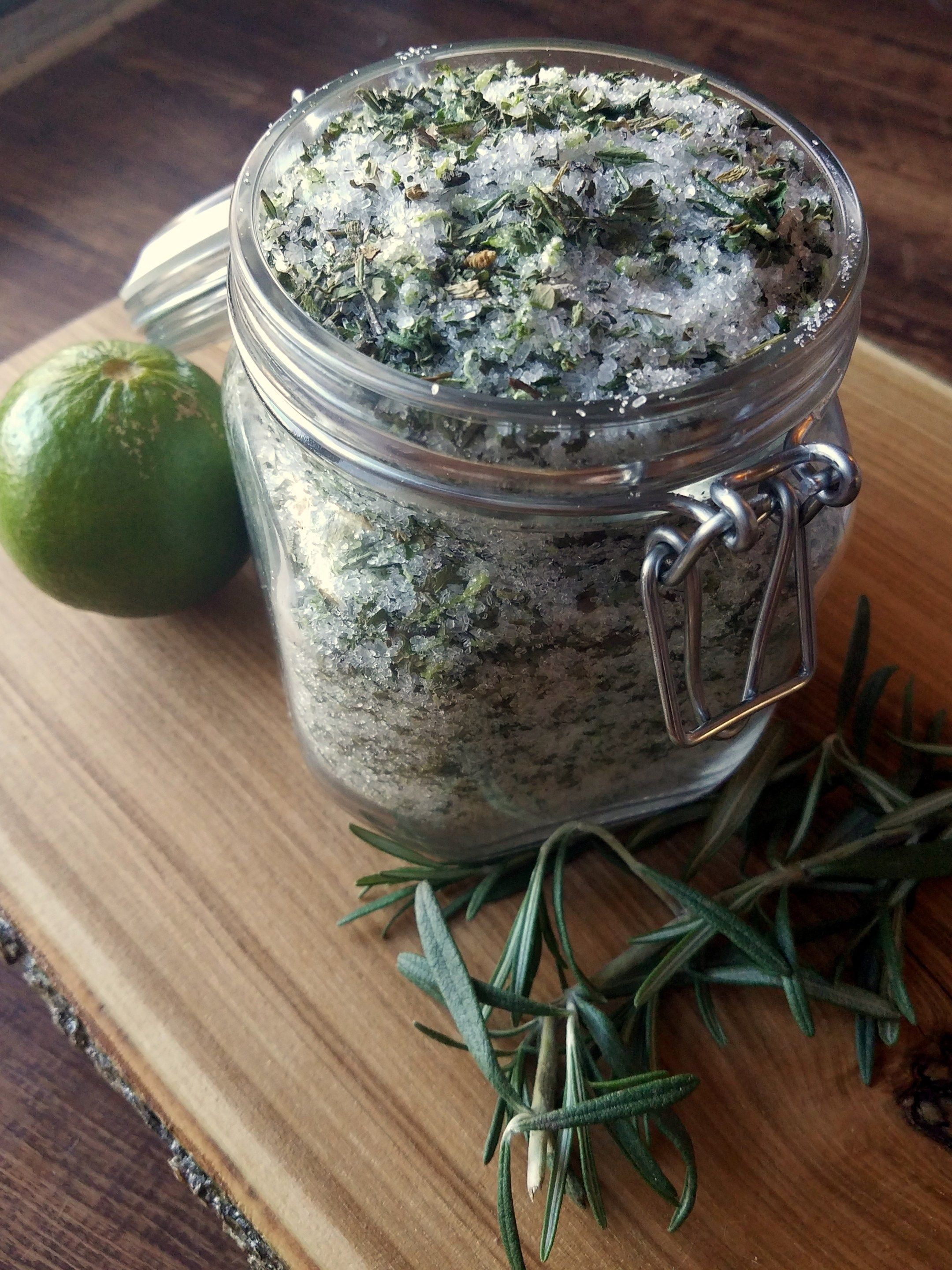 I LOVE a good soak in the tub with herbs and salts! This rosemary ...