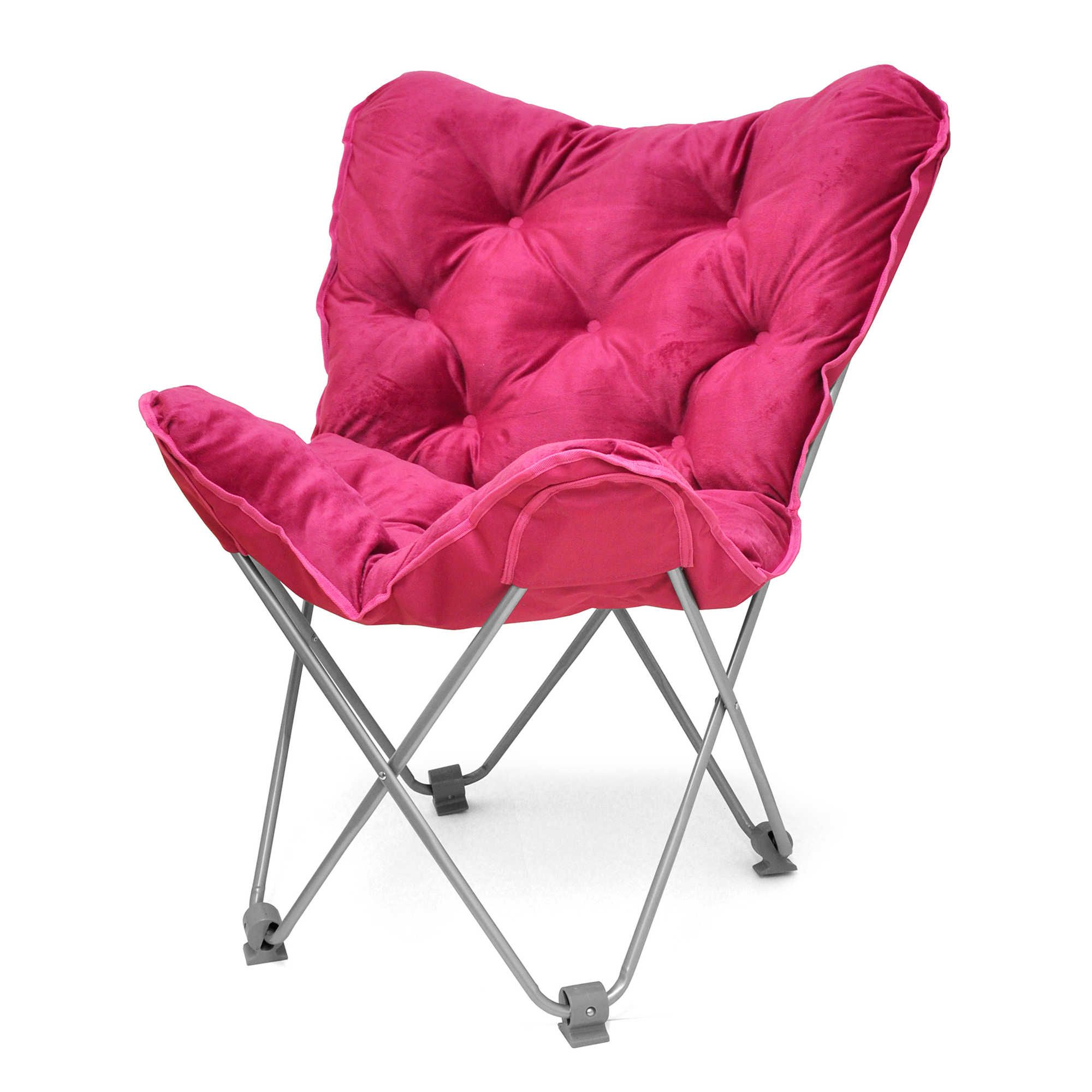 Tufted Folding Butterfly Chair in Fuchsia fold up when you