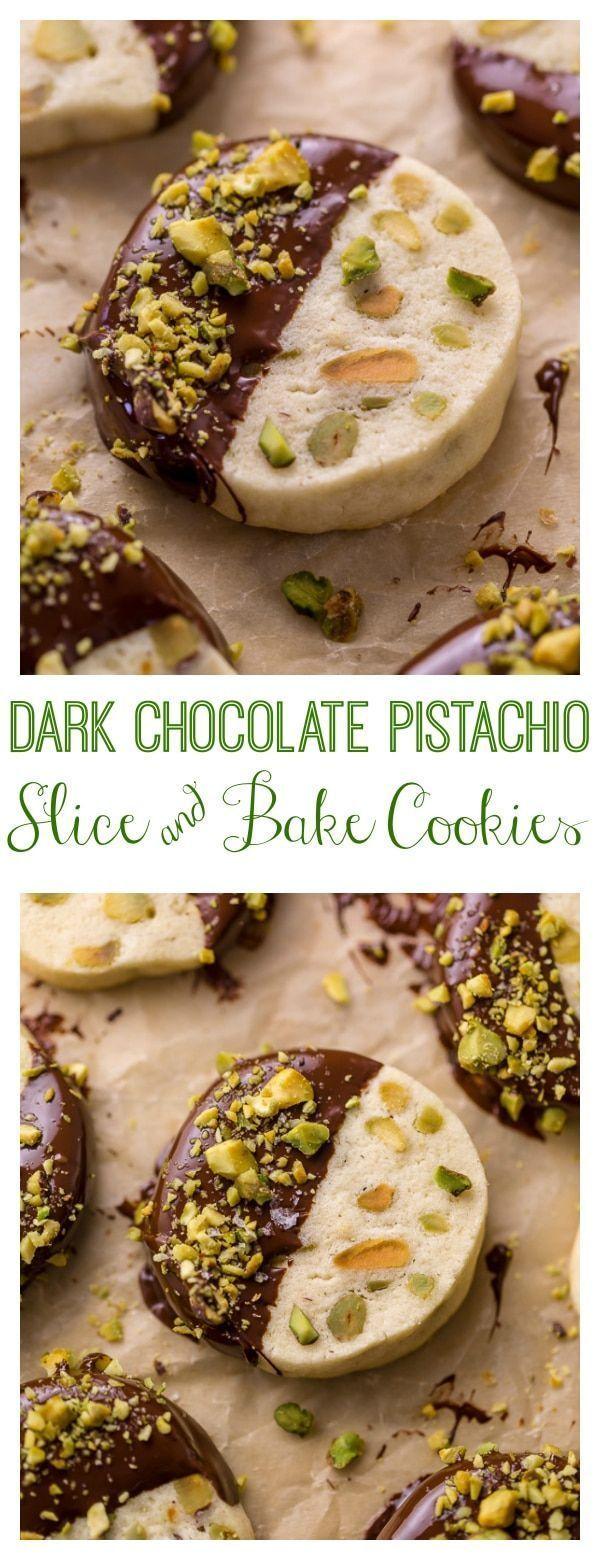 Dark Chocolate Pistachio Slice & Bake Cookies - Baker by Nature