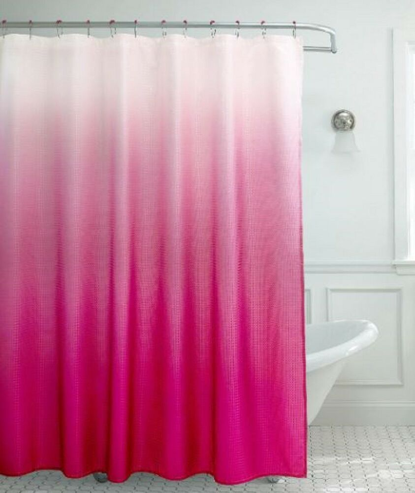 Hot Pink Shower Curtain Waffle Weave Ombre Design Bath Decor Color