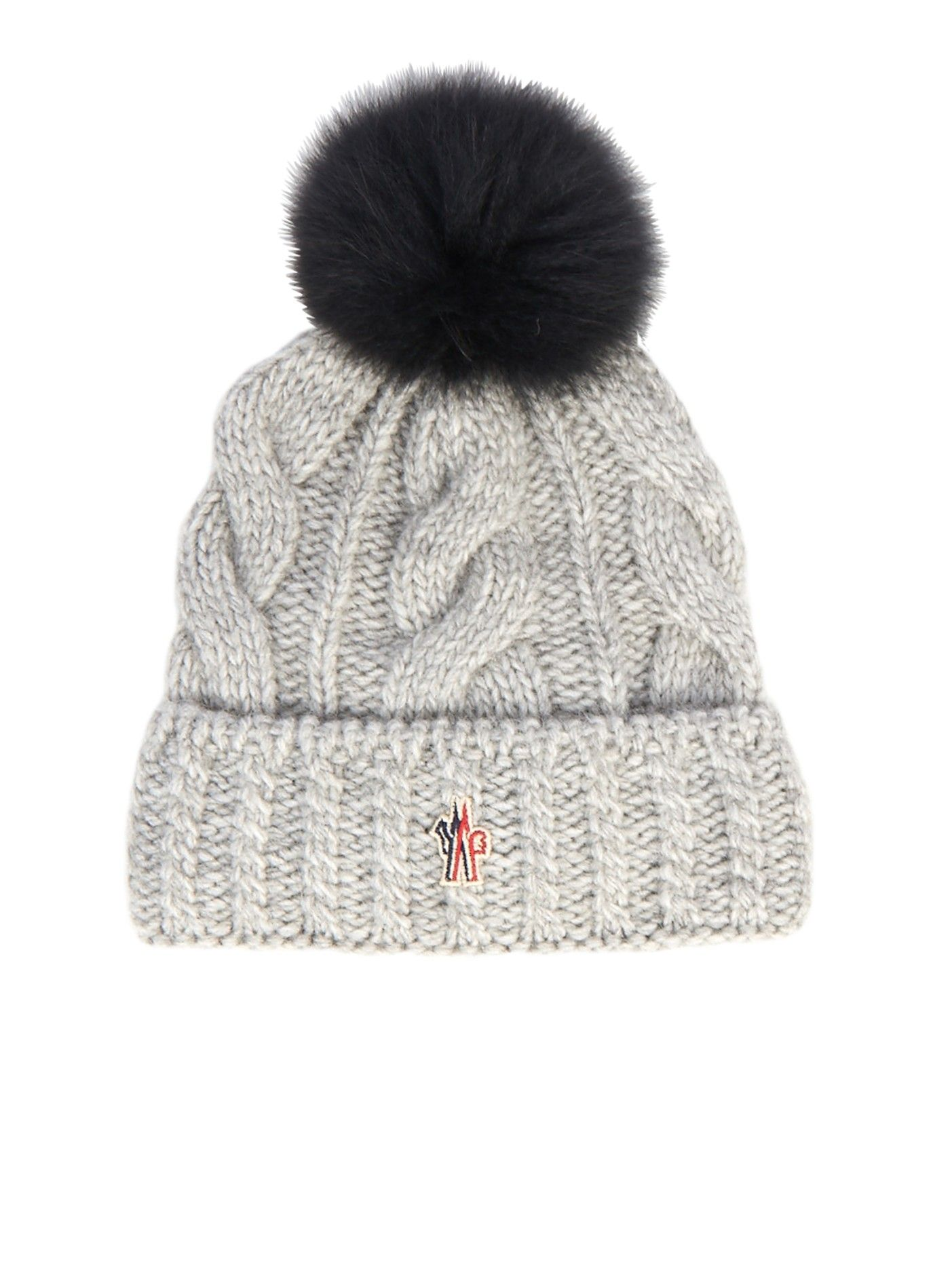 Mink-fur pompom knitted hat  80bb0d496c49