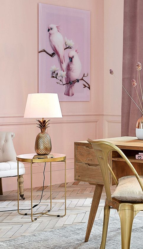 Pineapple lamp in a pink and gold living room | Maisons du Monde ...