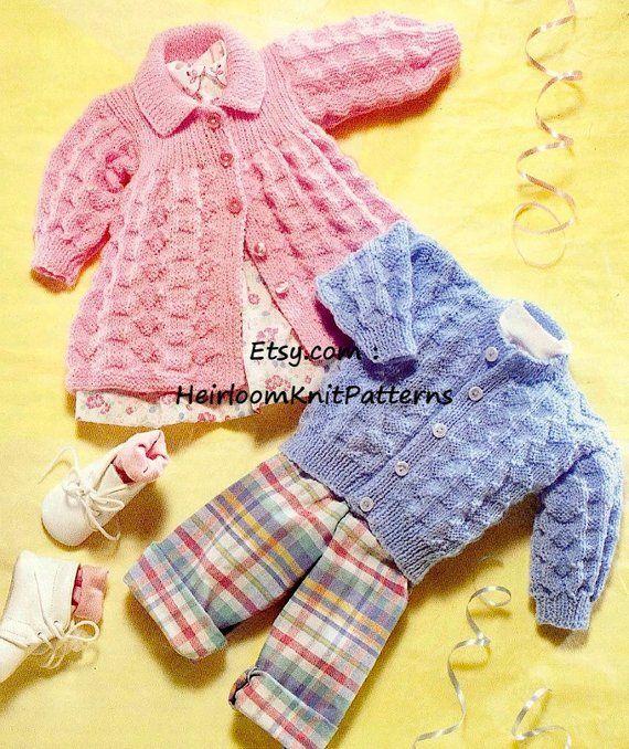 26966b6a4 Baby Boy Girl Cardigan and Matinee Jacket Baby Knitting Pattern PDF ...