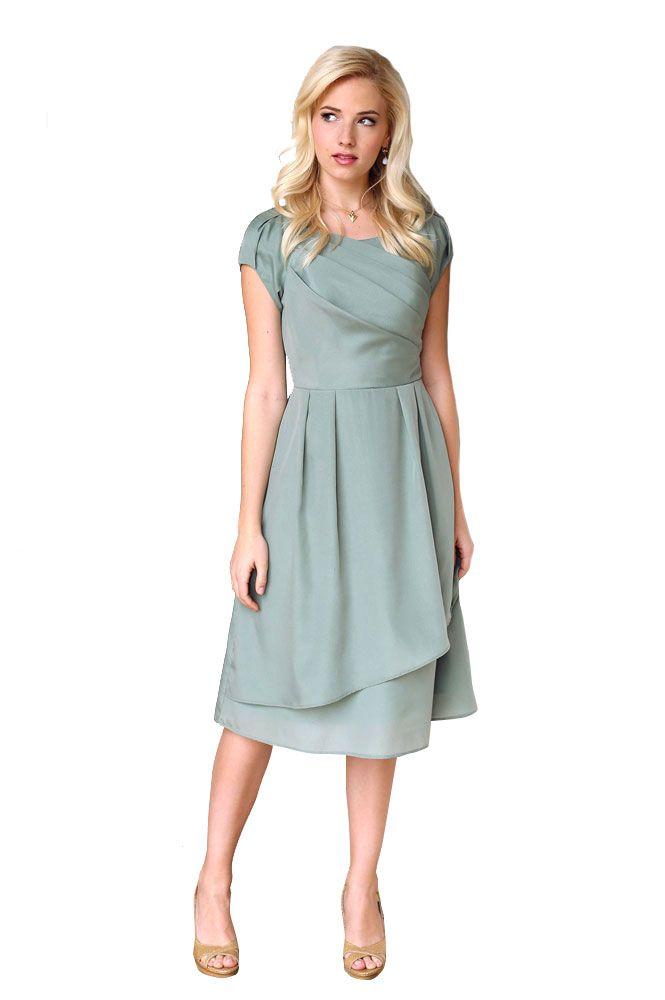 a576ecc78ac Jasmine Modest Semi-Formal Dress in Sage. add tan lace belt