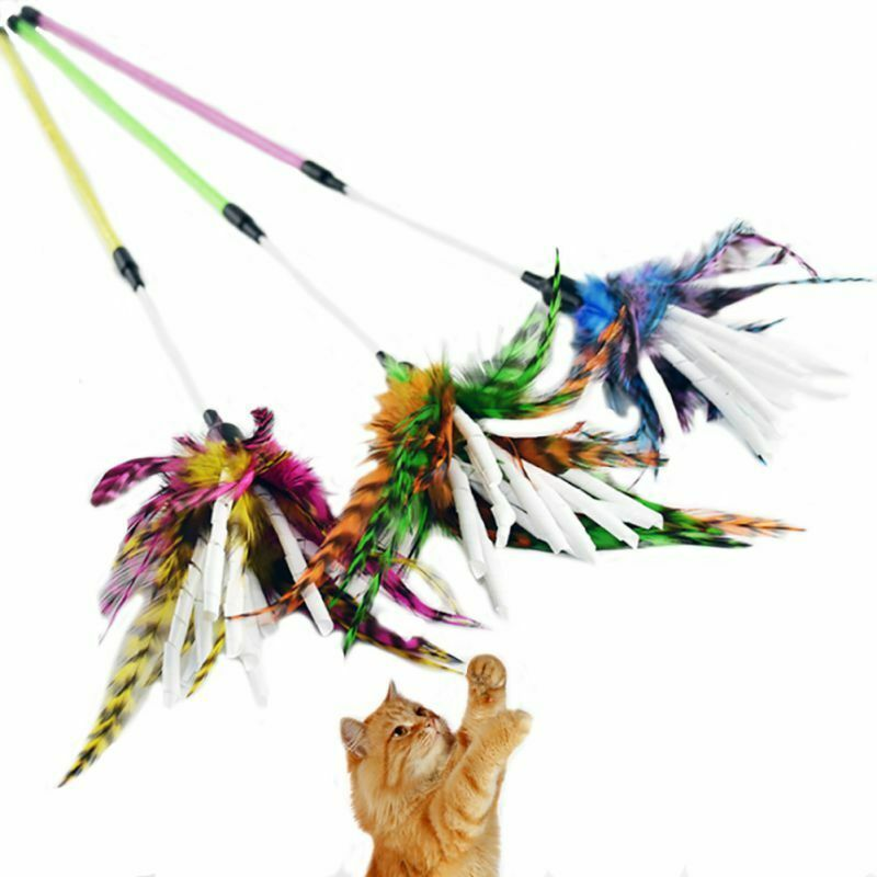 Pet Cat Cute Teaser Turkey Feather Interactive Stick Toy Wire Funny Chase Wand 48