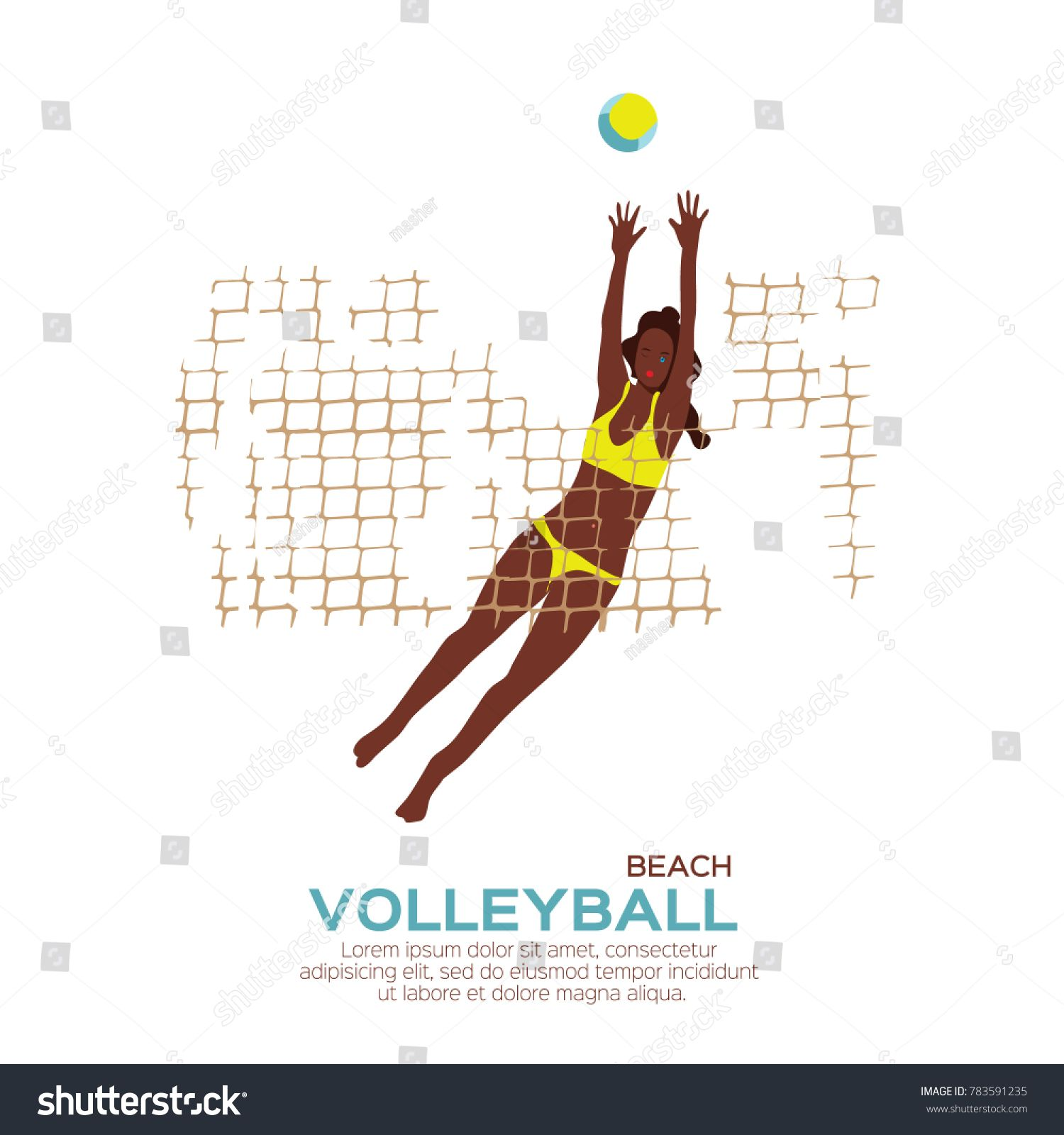 Beach Volleyball Is Popular Sport Game Funny Young Woman With Ball And Net Championship Volleyball Net Illu In 2020 Popular Sports Beach Volleyball Volleyball Humor