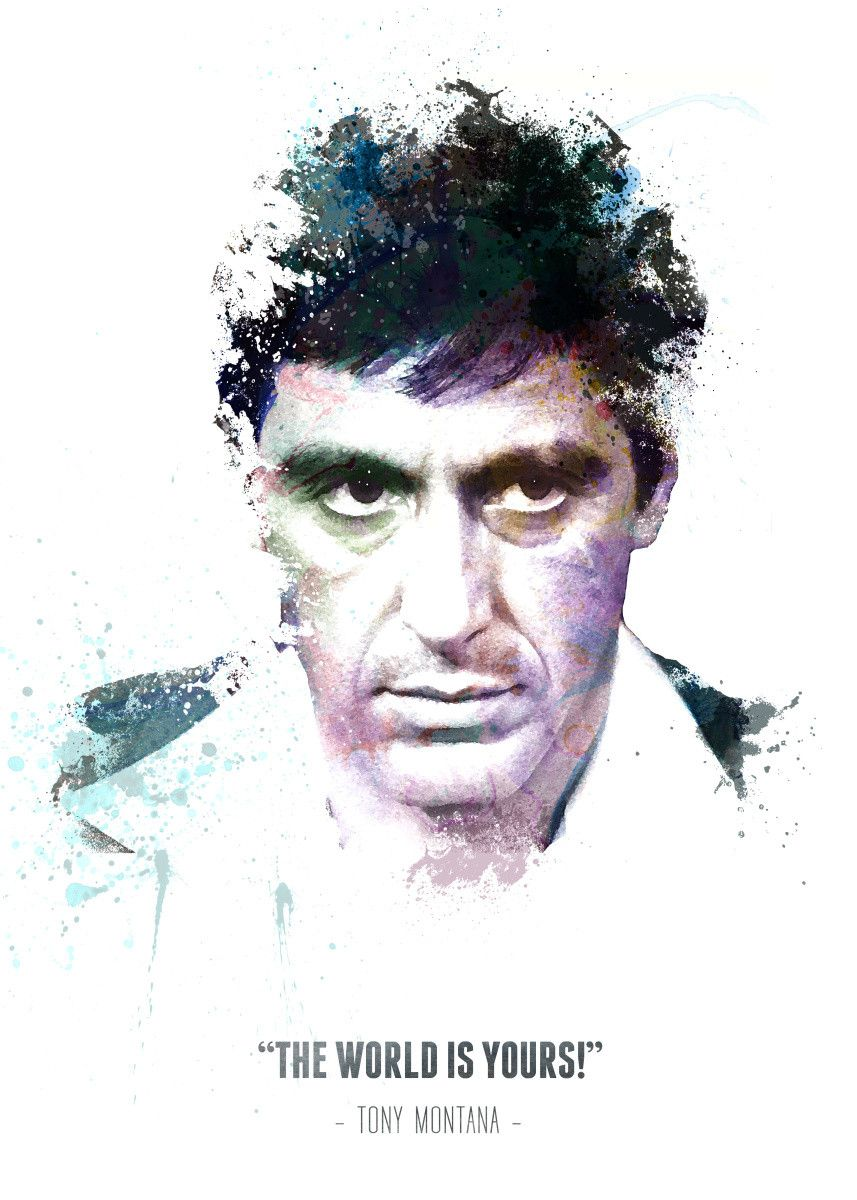 Displate Poster Tony Montana aka Scarface with his quote. tony #montana #scarface #the #world… | Displate thumbnail