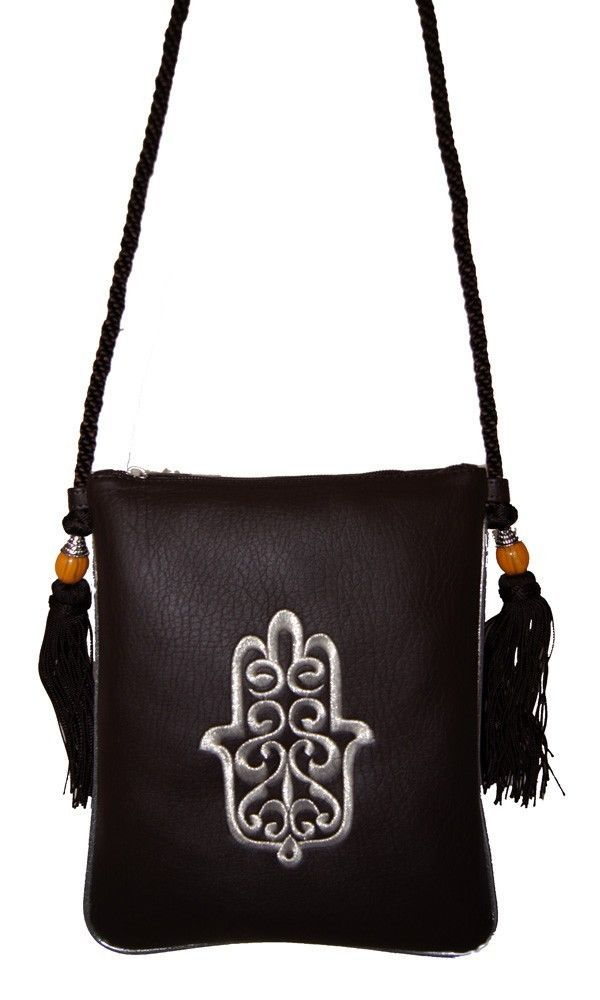 eb81771ba02d Brown Moroccan Leather Handbag Purse Hand of Fatima Embroidery ...