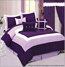 Full Queen Micro Suede Comforter And Curtain Set Purple Sage Gray