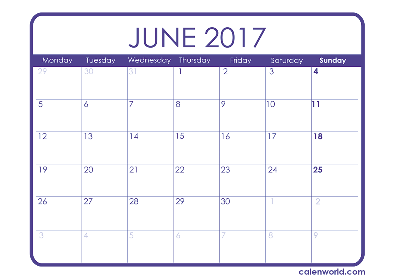June 2017 Calendar Printable Template http://socialebuzz.com/june ...