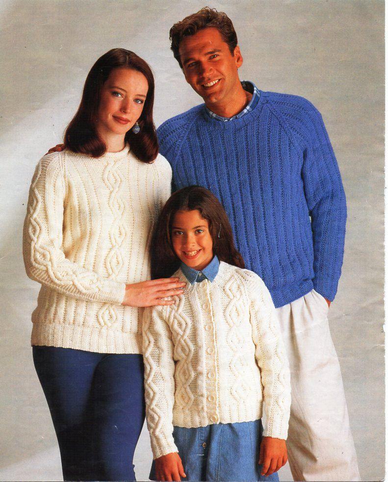 womens mens childrens aran sweater cardigan knitting pattern PDF ...