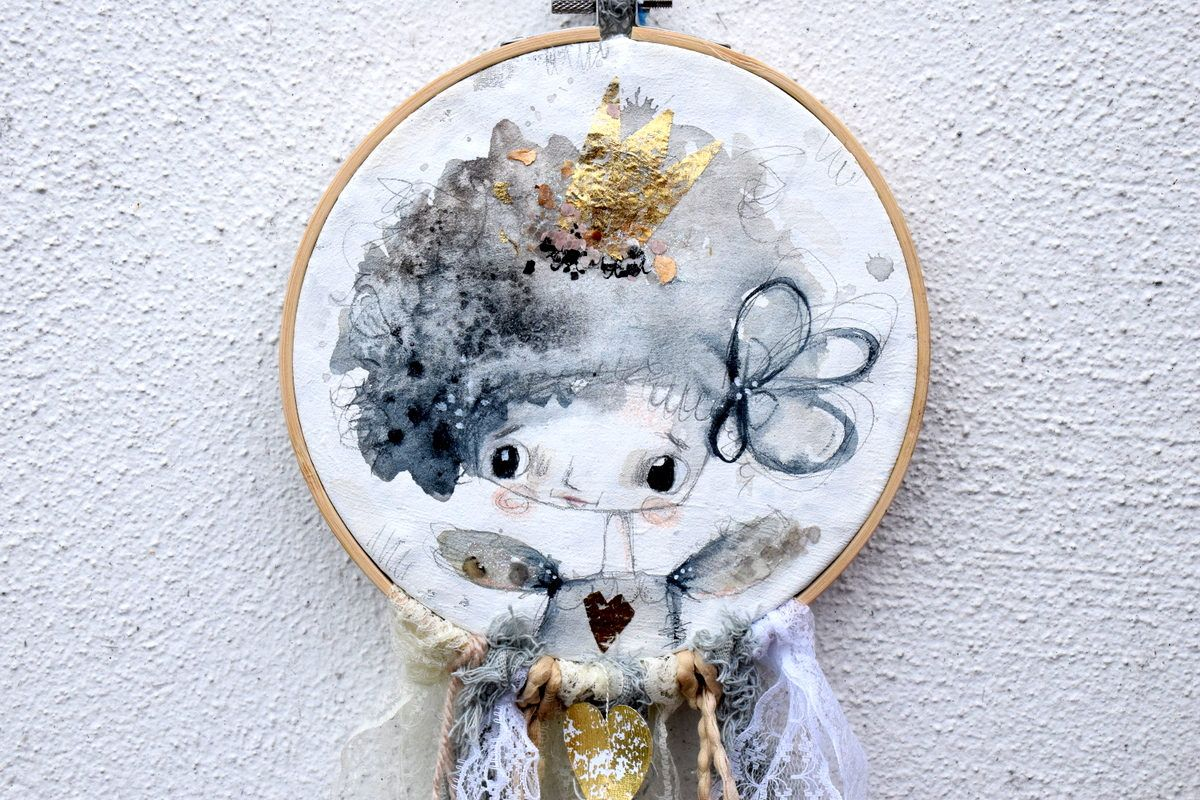 Lilly mixed media dream catcher nursery decor grey and gold