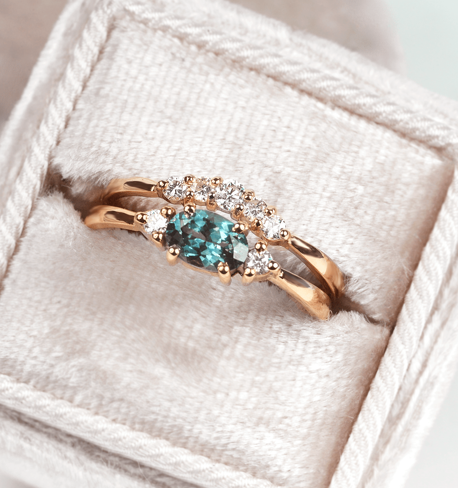 Teal sapphire ring, teal sapphire engagement ring