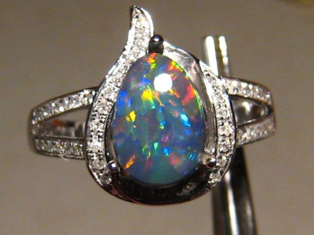 Australian black opal engagement ring