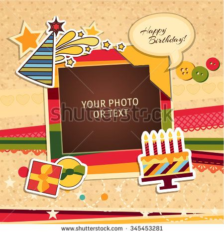 7f5e6a847496 Design photo frames on nice background. Decorative template for baby ...