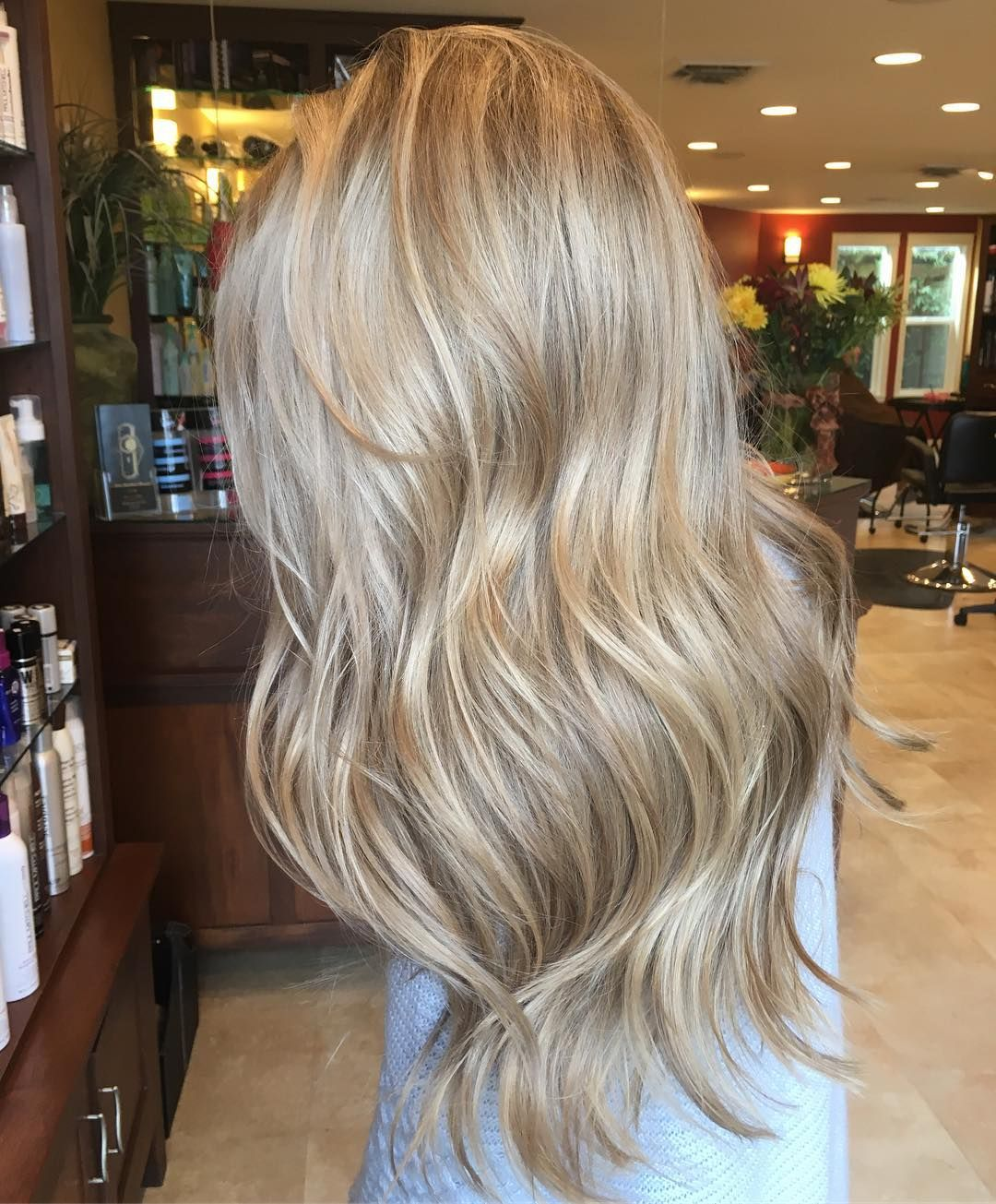 This Hair I Added Lowlights And Shadow Root In A Level 7 As Well As Toned Her Level 10 11 Blonde Do Beige Blonde Hair Sandy Blonde Hair Light Blonde Hair