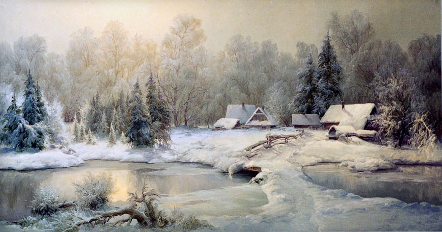 outdoor snow scene | An oil painting | snow, river, forest ...