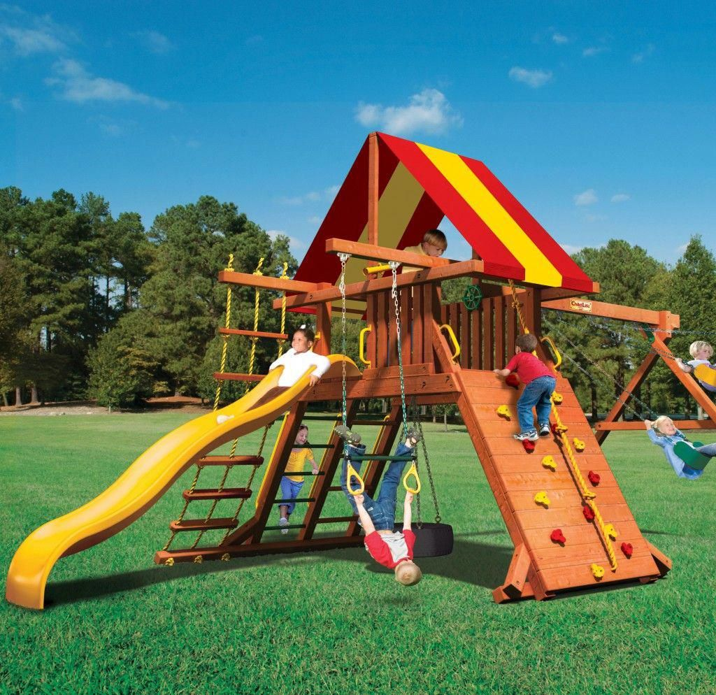 Lion S Den Wood Swing Set By Childlife Playsets Playsetlandscaping