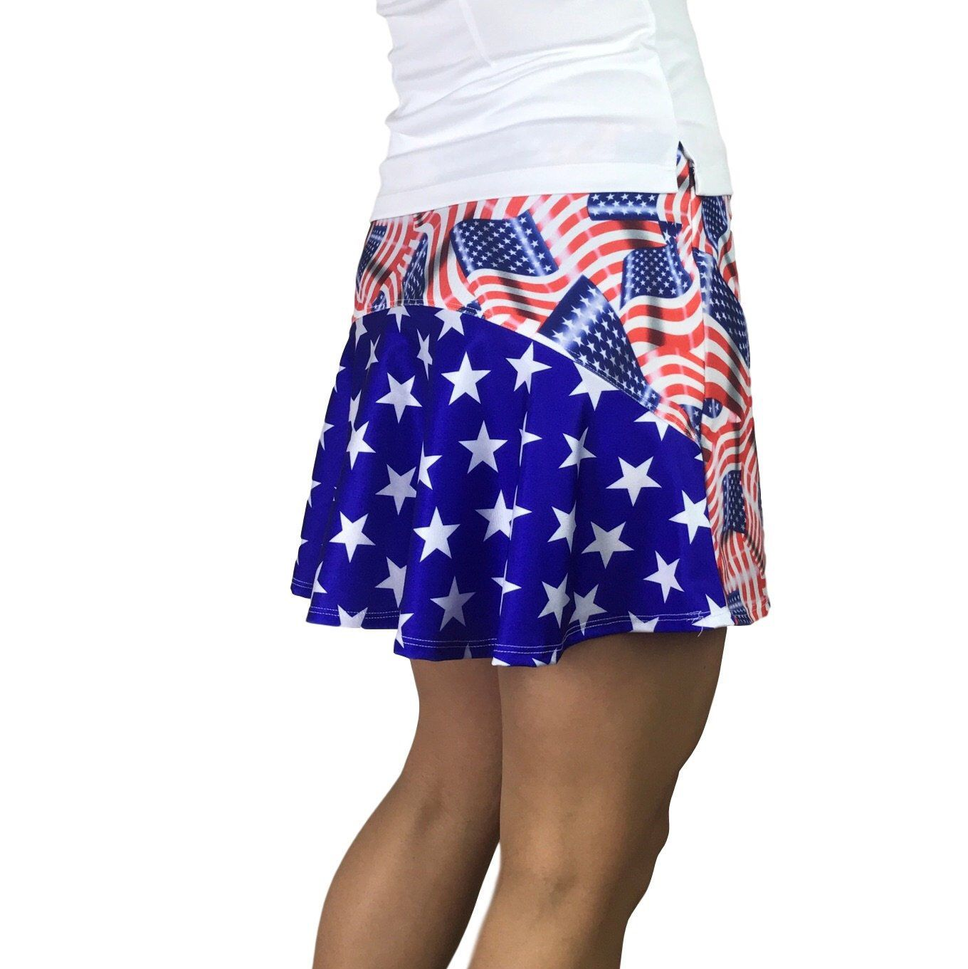 b73e09aed Excited to share this item from my #etsy shop: Flag w/ Stars Patriotic Athletic  Flutter Golf, Running, Tennis Skort w/ pockets- Golf Skirt