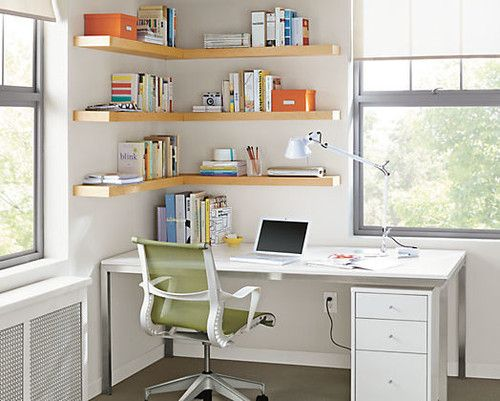 Corner Shelves Over A Corner Desk Would Look Really Nice Home Office Shelves Office Furniture Modern Cheap Office Furniture