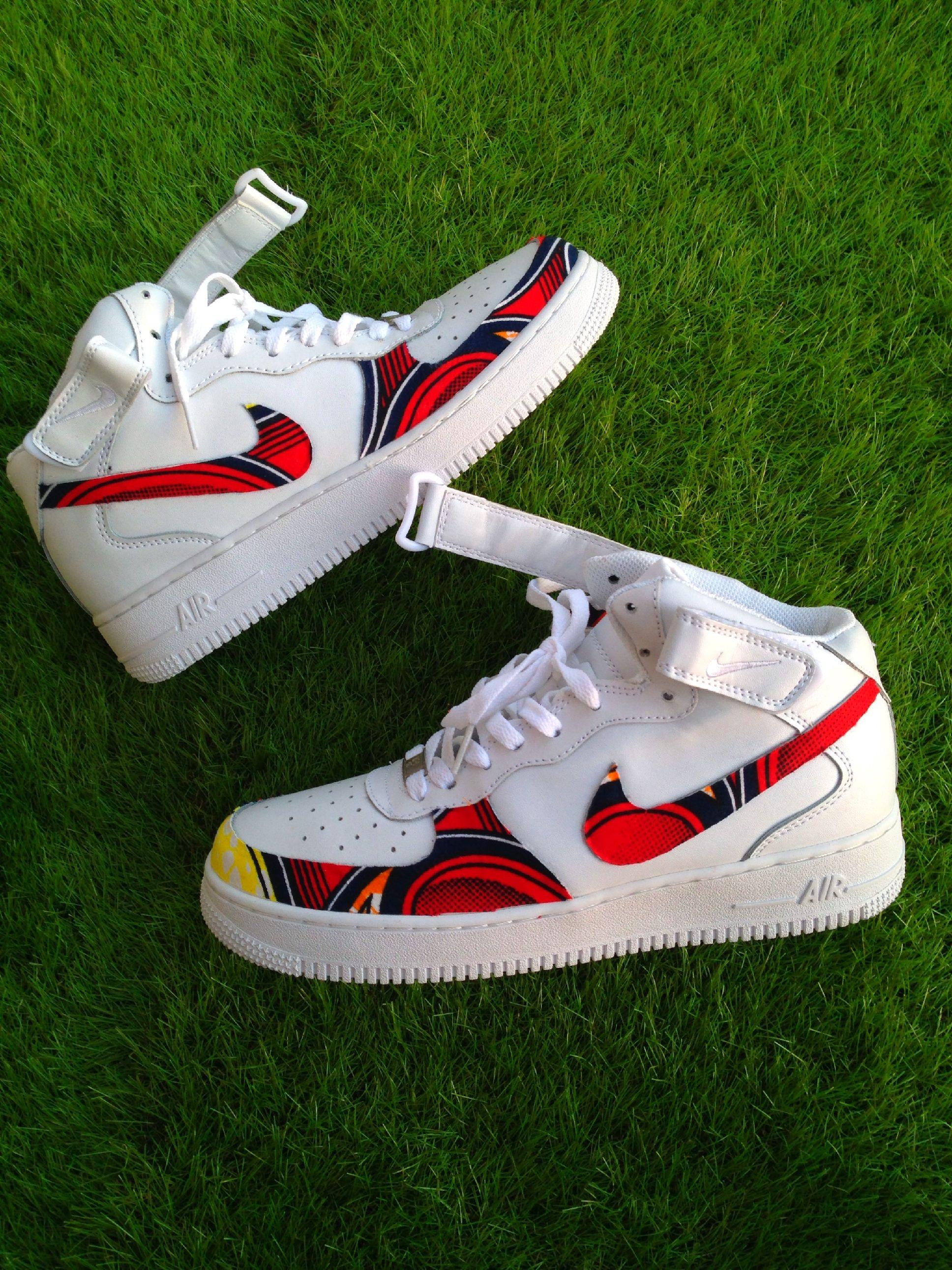 brand new 32876 292d2 Air Force One Red Wax Ankara Waxfeller Custom Sneakers Kicks  Fashion Men Women Hommes Femmes Kicks Nike