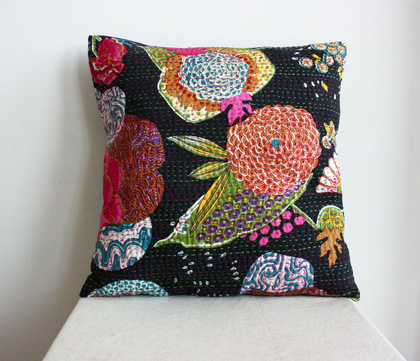 Large x handmade pillow black hand stitched black floral