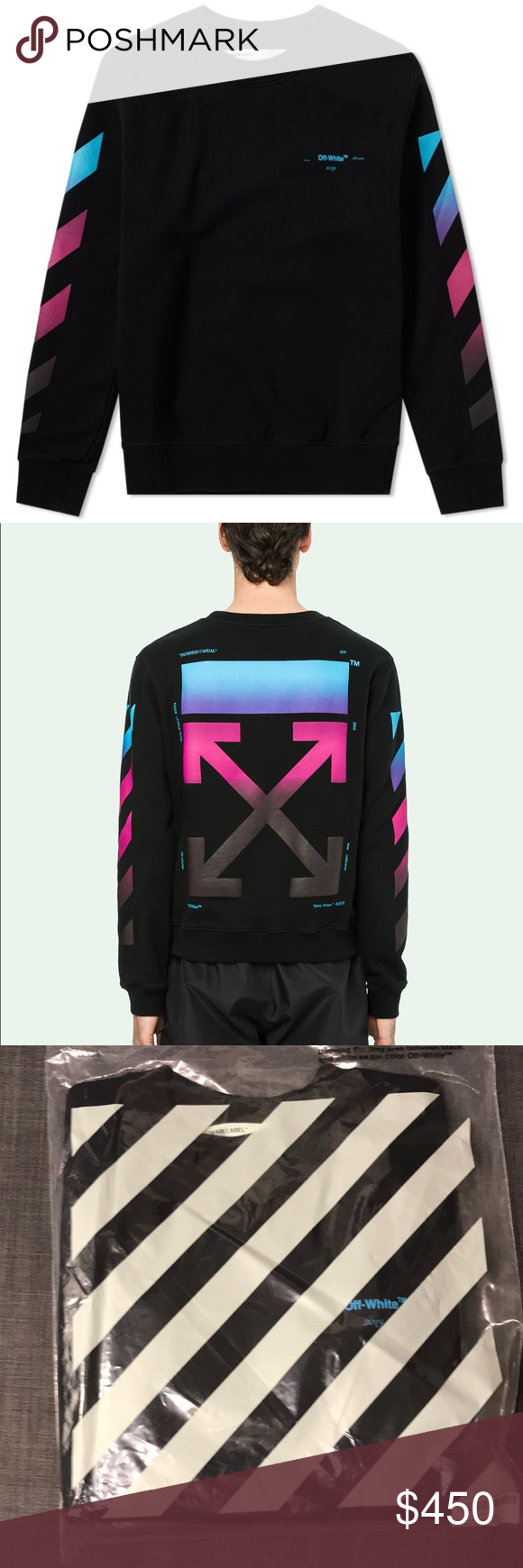 Off White Purple Gradient Sweater Sweaters Sweaters Crewneck Clothes Design [ 1740 x 580 Pixel ]