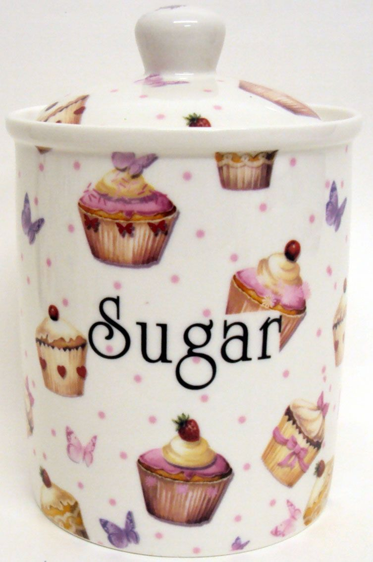 #Cupcakes & butterflies sugar canister bone #china #storage jar hand decorated uk,  View more on the LINK: http://www.zeppy.io/product/gb/2/391655588249/