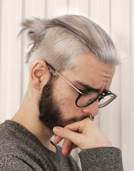 Gray Color Man Bun Hairstyle Pictures Hipster Hairstyles Undercut Hairstyles Mens Hairstyles