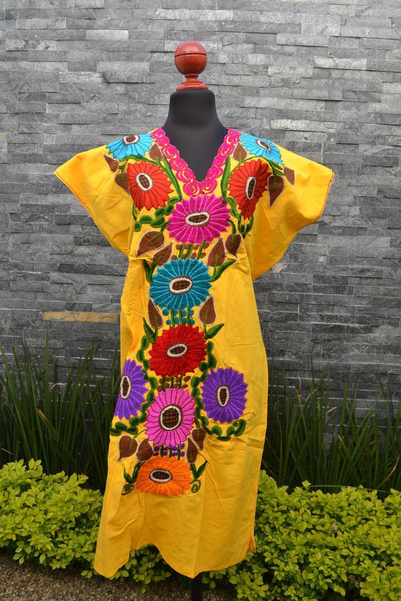Yellow Flowered Dress Huipil Dress Mexican Dress Mexican Etsy Yellow Flower Dress Mexican Embroidered Dress Flower Dresses [ 1191 x 794 Pixel ]