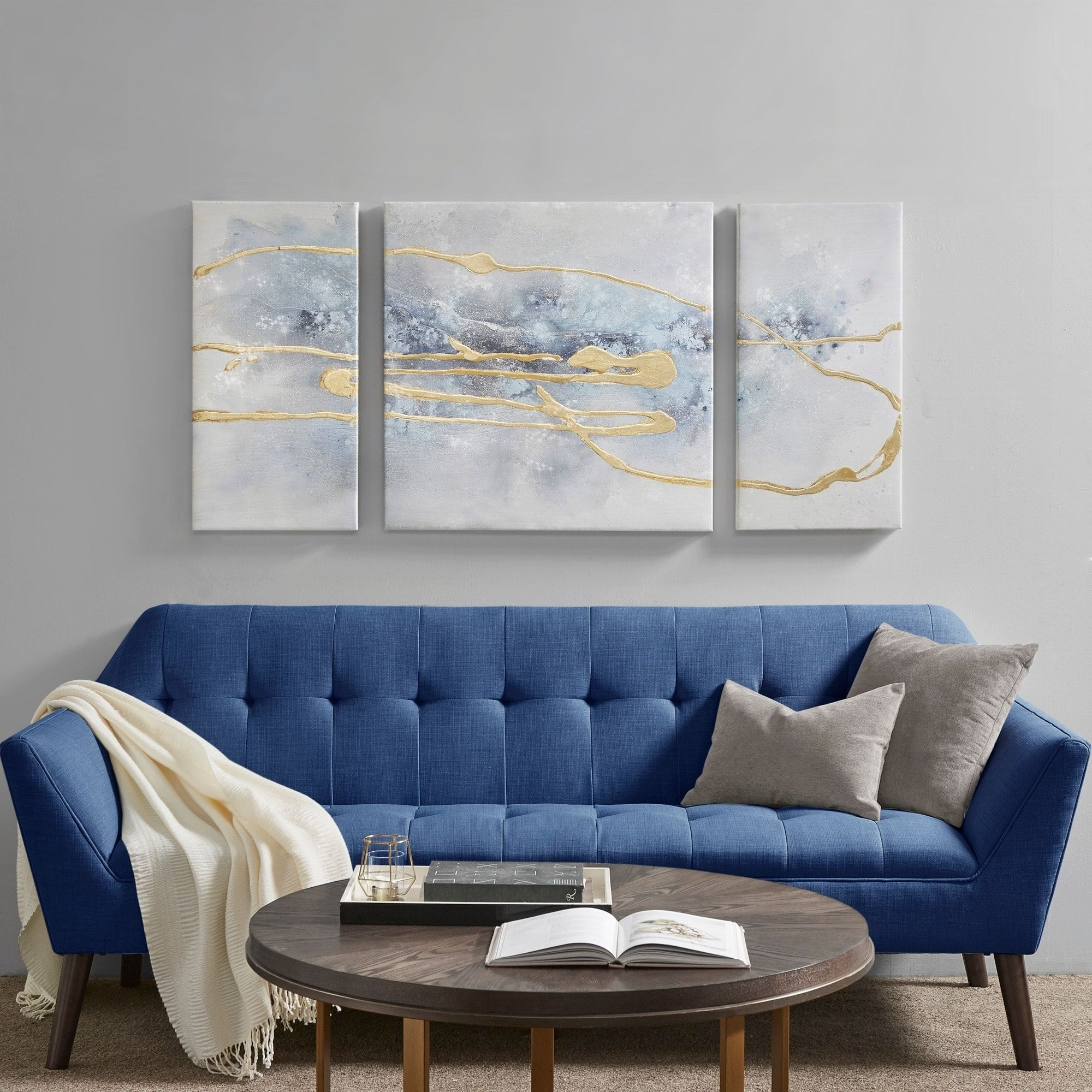 Madison Park Cosmo Blue Gold 3 Piece Canvas Set Hand Embellished Textured Glitter And Gold Foil Home Decor Canvas Set Canvas Wall Art
