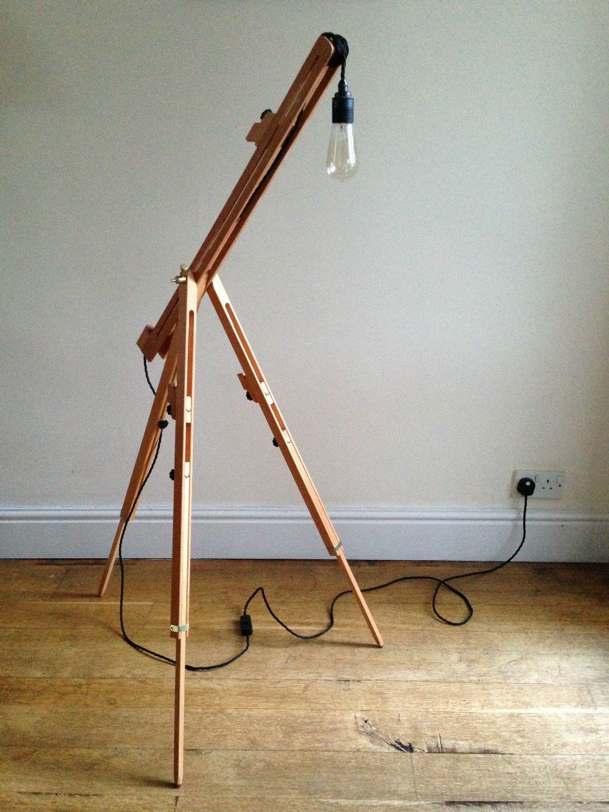 Easel Lamp Wooden New Floor Standing Tripod Design Dimmer