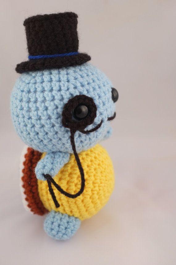 Amigurumi Top Hat Pattern : Squirtle Pokemon Gentlemon Amigurumi Crochet with Top hat ...