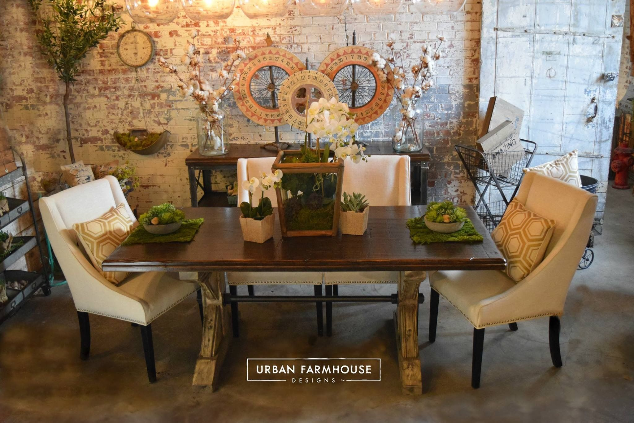 Urban Farmhouse Whitewash Brick Walls Dining Table Rooms Bricks Room Wall Dinning Set