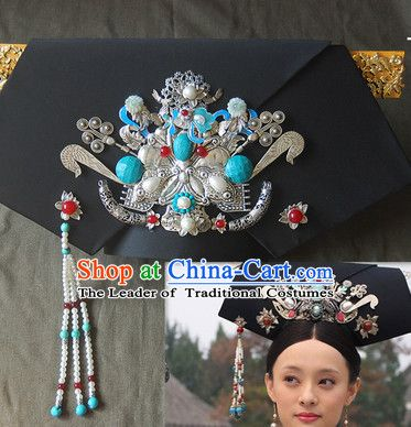 Qing Dynasty Imperial Royal Quene Hairstyle Manchu Hairstyle Chinese Oriental Hairstyles Costume Hair Accessories Long Black Wig Hair Styles