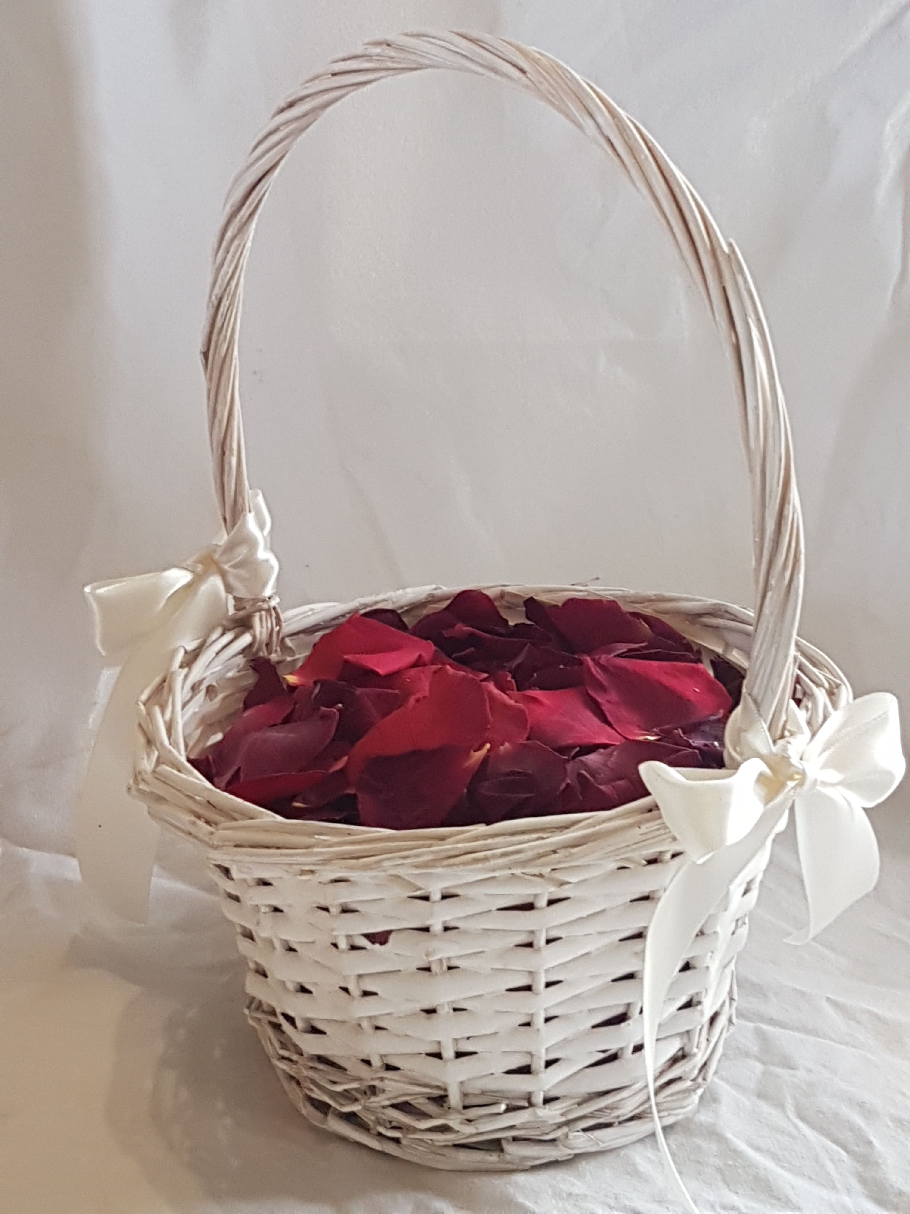 Beautiful burgundy red petal flower girl basket..visit www